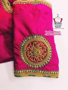 Hand Work Blouse Design, Aari Work Blouse, Blouse Designs Silk, Aari Embroidery, Round Design, Embroidered Blouse, Sleeve Designs, Maggam Works, Gold Designs