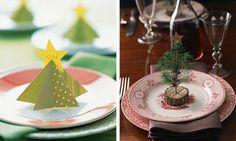 weihnachtliche tischdeko Tannenbäume aus Papier und in Mini-Variante