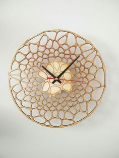 Your place to buy and sell all things handmade Laser Cut Wood, Laser Cutting, Wall Clock Design, Clock Wall, Laser Cutter Ideas, Kitchen Wall Clocks, Parametric Design, Wall Decor, Clock Decor