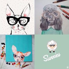 We've been going through the hundreds of the beautiful #sunniesART submissions. Here's a few of our favorite #sunniespets art before we announce the winners later tonight. #sunniesstudios | Sunnies Studios