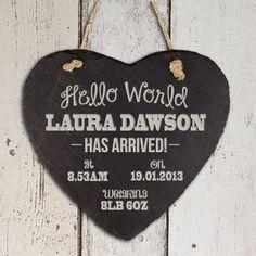 Personalised Hello World Slate Heart Keepsake - Fantastic New Baby Gift