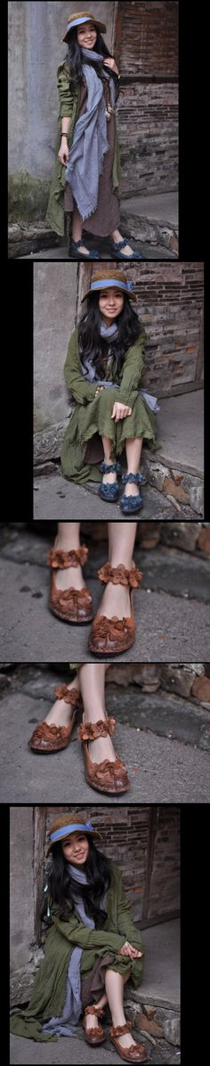 aeProduct.getSubject() Low Heel Shoes, Low Heels, Shoes Heels, Casual, Leather, Vintage, Women, Leather Flowers, Casual Shoes