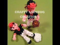 Baseball Series: PLAYER ACTION Figure. Created and loomed by Crafty Ladybug. Action Figure based on PGs Loomacy design. Click on photo for YouTube tutorial.