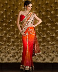 Orange Red Embellished Sari with Stitched Blouse  by Kisneel By Pam Mehta