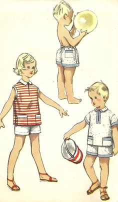 Childs Boxer Shorts and Shirt Vintage Sewing by MaisonMignot, $7.50