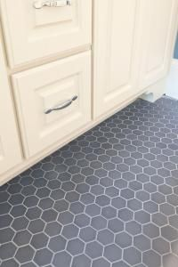 Slate gray hexagon tile, I want this in my bathrooms... FINAL ANSWER!