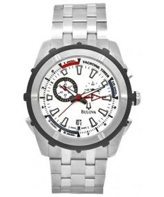 Bulova Stainless Steel Rubber Accent Yacht Timer 65B117 Bulova Watches, Stainless Steel