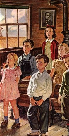 """Let Freedom Ring"". Amos Sewell (1901 – 1983), American artist.  Country school for my Mother, Dad, Aunts, Uncles..."