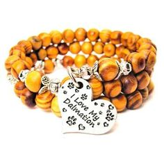 NATURAL WOOD WRAP BANGLE I LOVE MY DALMATION BRACELET - See more at: http://www.chubbychicocharms.com #Animals #Pets #Love #AmericanMade