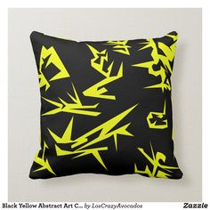 Black Yellow Abstract Art Cushion Pillow