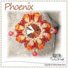 Square Pendant Beading Pattern - Phoenix