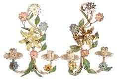 Floral Tole Candle Sconces, Pair on OneKingsLane.com