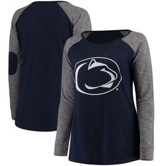 Penn State Nittany Lions Women's Plus Size Preppy Elbow Patch Slub Long Sleeve T-Shirt - Navy/Charcoal