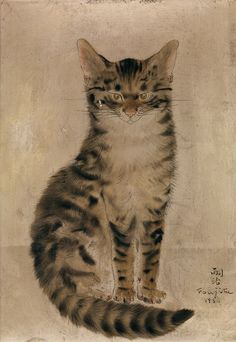 Léonard Tsuguharu Foujita I Red Cat Sitting (Chat roux assis) I 1930 I Love Cats, Crazy Cats, Academic Drawing, Inspiration Drawing, Asian Cat, Gatos Cat, Japanese Cat, Art Asiatique, Illustration Art