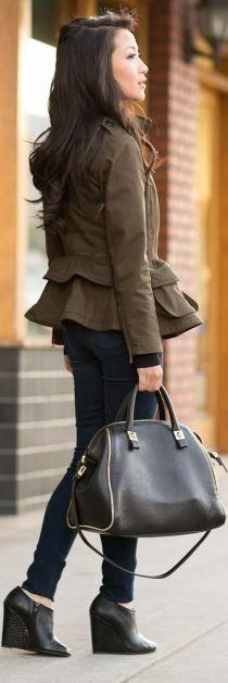 Jacket:: Burberry   Bottom :: Citizens of Humanity  Bag :: Zara  Shoes :: custom design via Shoes of Prey