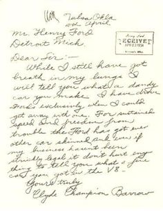 Saw a copy of Clyde Barrow's thank you note to Henry Ford at the shop the other day, thought it was kinda cool.
