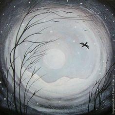 Купить Картина Птицы акрил пейзаж дерево синий - картина в подарок, картина пейзаж, деревья