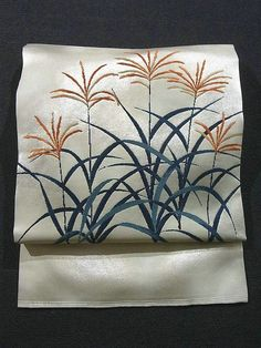 Graceful Susuki Pattern Autumn Color Nagoya Obi