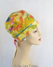 Vintage 1960s 60s Hat Yellow Floral Nylon Waterproof Cloche NWT by Holiday Mates
