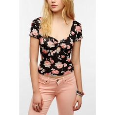 XS Pins & Needles floral crop top XS black floral short sleeve crop top by Pins & Needles, purchased from Urban Outfitters. Features a gathered padded sweetheart neckline and keyhole in front, and a smocked back. Very soft and stretchy. Worn once. Looks really cute with a high waisted black skirt or black denim cut offs. Urban Outfitters Tops Crop Tops