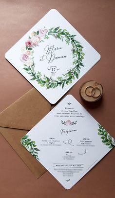 Faire part romantique couronne de fleurs - 48 Romantic Wedding Venues in the U. Elegant Wedding Invitations, Wedding Invitation Cards, Wedding Stationery, Wedding Planner, Rustic Wedding, Our Wedding, Wedding Cards Handmade, Wedding Wreaths, Floral Invitation