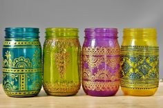 Set of 4 Moroccan Style Mason Jar Lanterns, Brilliant Spring Colored Glass with Henna Styled Accents by LITdecor on Etsy https://www.etsy.com/listing/126034636/set-of-4-moroccan-style-mason-jar