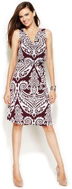 INC International Concepts Printed Cowl-Neck Sleeveless Dress