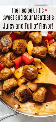 Sweet and Sour Meatballs are juicy full of flavour and tossed in a delicious sweet and sour sauce. We added bell peppers and onions too! Sweet N Sour Meatball Recipe, Sweet And Sour Recipes, Sweet And Sour Meatballs, Meatball Recipes, Beef Recipes, Cooking Recipes, Potato Recipes, Recipies, Appetizer Recipes