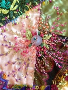 This CraZy Quilting is sew. Crazy Quilting, Crazy Quilt Stitches, Crazy Quilt Blocks, Quilting Ideas, Quilting Templates, Ribbon Embroidery, Beaded Embroidery, Embroidery Stitches, Embroidery Patterns