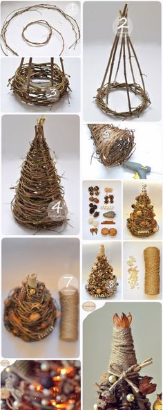 We& show you how to make a simple but beautiful braided Christmas tree decor . , We will show you how to make a simple but beautiful braided Christmas tree decoration! Christmas Tree On Table, Noel Christmas, Rustic Christmas, Xmas Tree, Christmas Tree Decorations, Christmas Wreaths, Christmas Ornaments, Christmas Projects, Holiday Crafts
