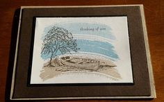 STAMPIN UP CARD KIT MOON LAKE AND WORK OF ART THINKING OF YOU 4 IN ALL