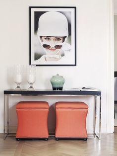 Austin puff, orange Furniture Decor, Dining Room, House, Orange, Home Decor, Home, Haus, Interior Design, Dining Room Sets