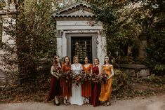 Autumnal Colour Scheme for a Gothic Wedding in London with Story of My Dress Bridal Gown and Doughnut Wall, shot by Camilla Andrea Photography Burnt Orange Bridesmaid Dresses, Burnt Orange Weddings, Mismatched Bridesmaid Dresses, Wedding Bridesmaid Dresses, Bridal Dresses, Bridal Gown, Fall Dresses, Autumn Bridesmaids, Pageant Dresses