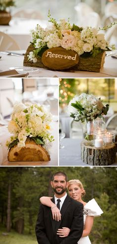 Log centerpieces, love this idea, i would cut out the center to be able to fit a little rectangular vase to put the flowers into and it be hidden