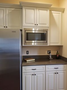 Standard trim kit for Bosch microwave, model # Built In Microwave Cabinet, Microwave In Kitchen, Kitchen Redo, Kitchen Shelves, Home Decor Kitchen, New Kitchen, Home Kitchens, Kitchen Remodel, Kitchen Design