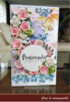 Te traemos una hermosa #tarjeta muy floral que te traemos, con toda la alegría y conóce el regalo de este mes, está increíble !!! http://crea-lo-inimaginable.blogspot.mx/2015/08/bienvenido-agosto-pensando-positivio.html #scrapbook #manualidades #scrapbooking #crafting