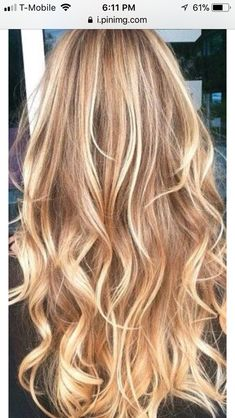 Long blonde waves with highlights
