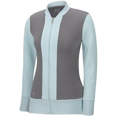 adidas Golf Women's Advance Quilted Bomber Jacket, CH Solid Grey, X-Small. Performance wool fabric mixed with quilted fabric at sleeves and center front. Full-zip with two front pockets. Bomber jacket inspired silhouette.