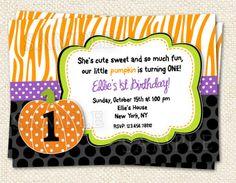 Halloween Party Invitation Pumpkin Birthday by LollipopPrints via etsy.