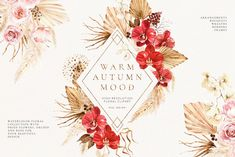 New autumn collection of watercolor illustrations that consist of many floral elements. Bright red orchid, blush roses, pampas and dried palm as well as other dried plants will add autumn mood to your design.#invitations #elegantwedding #modernwedding #beachwedding #bohowedding #floralwedding #vintagewedding #fallflowers #fallwedding Fall Flowers, Dried Flowers, Watercolor Illustration, Watercolor Flowers, Red Orchids, Fancy Fonts, Graphic Design Layouts, Warm Autumn, Floral Border