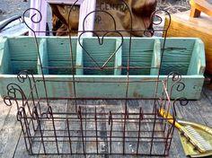 French Wire Basket Heart Basket Flower Basket by CasaKarmaDecor