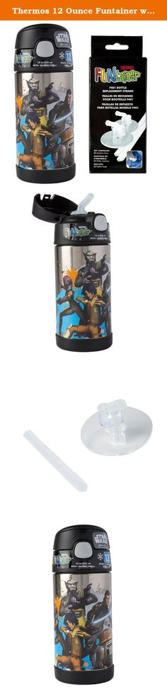 Thermos 12 Ounce Funtainer with 2 Clear Replacement Straws - Star Wars Rebels. Take your favorite character to school, the park, and wherever you go. This Thermos Funtainer holds 12 ounces of liquid and features vacuum insulation technology for maximum temperature retention. Its durable construction is great for sporting events and extended use. Keep your drinks cold for up to 12 hours. THERMOS brand products deliver what matters every time. As the leading manufacturer of convenient...