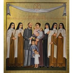 "Icon of ""Sts. Louis and Zelie Martin with St. Therese of Lisieux and Siblings"" by Paolo Orlando now available from Trinity Religious Artwork and Icons - October 2015 — Saints Louis and Zélie Martin, the Parents of Saint Thérèse of Lisieux Catholic Art, Catholic Saints, Religious Images, Religious Art, Santa Teresa, Santa Maria, Our Lady Of Medjugorje, Orlando, St Therese Of Lisieux"