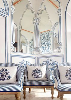 Located within the Narain Niwas Palace Hotel in Jaipur, India is what might be the most visually delightful restaurant and bar in the world. Bar Palladio, designed by Dutch designer and Tocca founder Marie-Anne Oudejansis,… Blue Rooms, White Rooms, Blue Walls, Indian Interiors, Vintage Interiors, Interior Decorating, Interior Design, Interior Ideas, Himmelblau