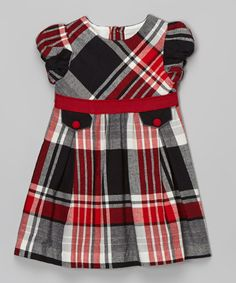 This Red & Black Plaid Cap-Sleeve Dress - Infant, Toddler & Girls by La Fleur & Le Papillon is perfect! #zulilyfinds