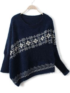 Navy Long Sleeve Asymmetrical Snowflake Batwing Sweater