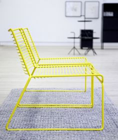 A Contemporary Design Classic with an Airy Metal Structure Resembling a Three-Dimensional Line Drawing - Hay Hee Lounge Chair Design by Hee Welling Lounge Chair Design, Lounge Sofa, Design Furniture, Modern Furniture, Futuristic Furniture, Neon Furniture, Plywood Furniture, Outdoor Furniture, Painted Furniture