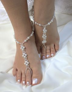 Barefoot Sandals Anklets Indian wedding feet jewelry Payal womens