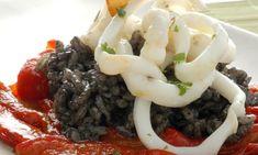 Receta de Arroz negro con calamares y morrones - Rice with squid and black peppers Recipe