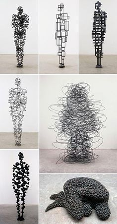 figures by Antony Gormley, I just think its interesting the different ways that you create a figure through sculpture. figures by Antony Gormley, I just think its interesting the different ways that you create a figure through sculpture. Sculptures Sur Fil, Wire Sculptures, Art Quotidien, Vitrine Design, Sculpture Metal, Abstract Sculpture, Human Sculpture, Sculpture Ideas, Sculpture Rodin